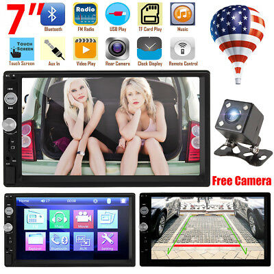 7inch 2 DIN Car MP5 Player Bluetooth Touch Screen Stereo Radio HD+Rear Camera US