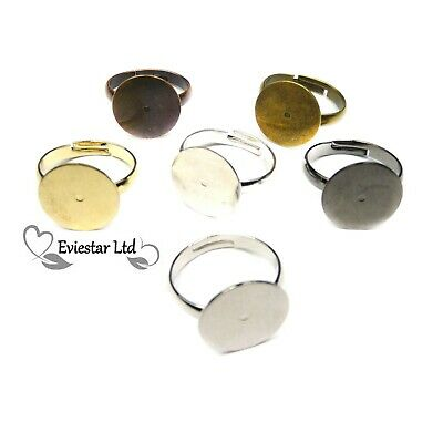 Adjustable Brass Ring Blanks 14mm Pad Lead and Cadmium Free RB-4