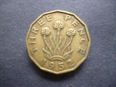 1952 George 6Th Brass Threepence Coin, The Coin Shown Will Be Actual One Sent.