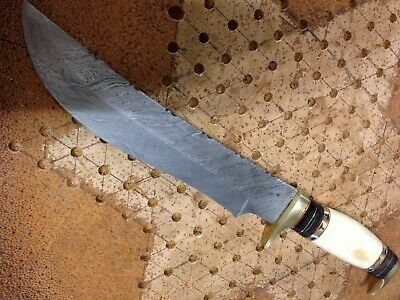 "Damascus  14"" Collectors/ Hunting/ Camping Knife Camel bone"