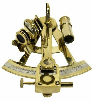 """Nautical 5"""" Brass Sextant With Wooden Box - Marine Ship Engine Instrument"""