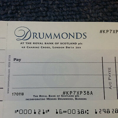 Drummonds Cheque - Collectable - Rare - Wow Looook