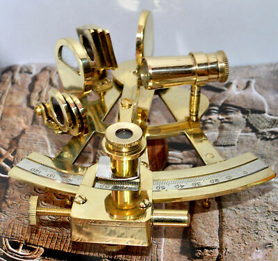 "Marine Solid Brass 5"" Nautical Sextant - Maritime Ship Instrument"