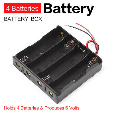 4 Slots AA Battery Holder Cover ON OFF Switch Power Storage Cases Box Holder 6V