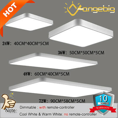 LED Panel Ceiling Light Square 24/36/48/72W Kitchen Cool/Warm Dimmable White CE