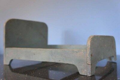 Vintage French Wooden Bed C 1950s Dolls Shabby Chic Handmade Painted Grey