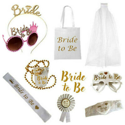 Bride To Be White Gold Accessories Hen Party Night Do Team Bride
