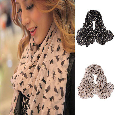 Chiffon150x60cm Fashion Women Little Cat Long Soft Wrap Scarf Shawl Scarf Fit