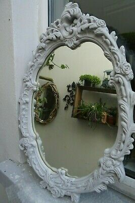 French Grey  Painted Vtg  Moulded Plaster  Frame Ornate Rocco Style  Mirror