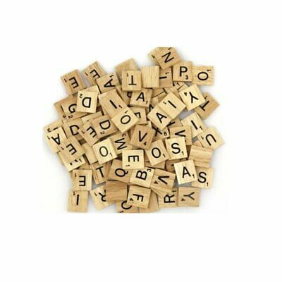 200 Wooden Scrabble Crafts Tiles Mix Black Letters Numbers Alphabets Board Game
