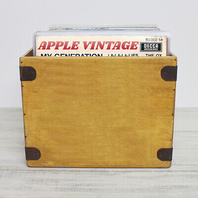 "Handcrafted LP Record Box Large 80 12"" Albums Vintage Solid Wooden Vinyl Crate"