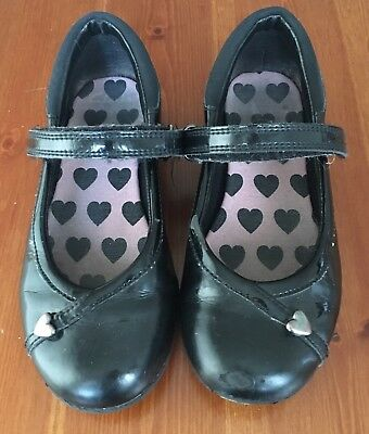 Girls Leather Clarks Shoes Sz infants 10.1/2G  In Black GC