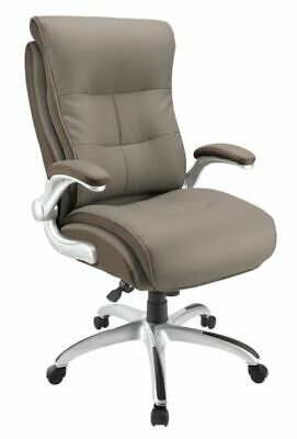 Realspace Ampresso Big And Tall Bonded Leather High-Back Chair, Taupe/Silver