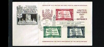 [VN012] 1955 - VN/UNO New York FDC Mi. Block 1 I - 10 years United Nations