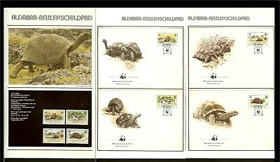 [A32_10] 1987 - Seychelles WWF Stamps MNH + FDC Mi. 104-107 - Animals - Reptiles