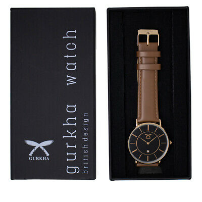 Gurkha cross khukuri special edition unisex watch with Normal Brown leather stra