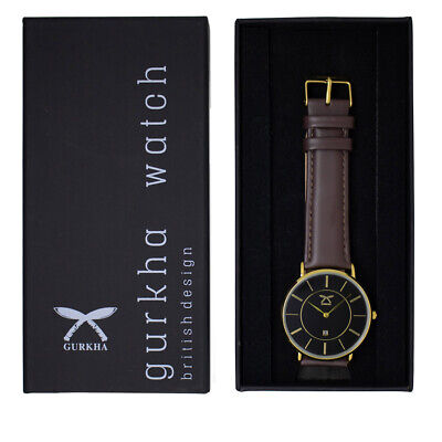 Gurkha cross khukuri special edition unisex watch with Cofee brown leather strap