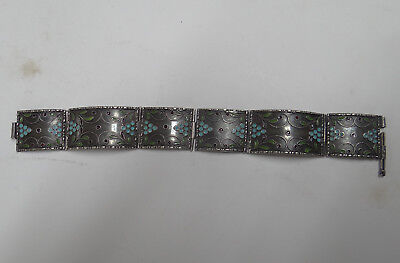 Old European Silver Bracelet With Enamel And Black Silver
