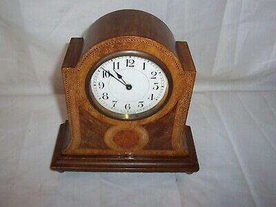 Lovely Mahogany Inlay Platform Escapement Mantle Clock Great Working Condition..
