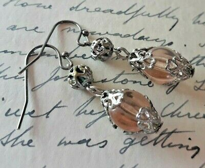 Art Deco BENGEL STYLE EARRINGS Blush Pink GLASS & FILIGREE To Match Necklace