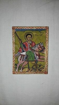 Coptic icon of St George on parchment original handmade rare unique painting