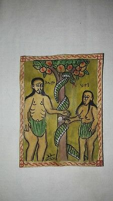 Coptic painting Adam and Eve artwork on parchment original handmade rare unique