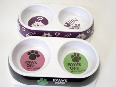 Cat Twin Feeding Bowl Melamine Multi Colour Only Paws Off Design Left