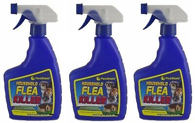 3 x Flea Killing Spray For Cat Dogs Bed Kennel Carpets Home Flea Treatment 500ml