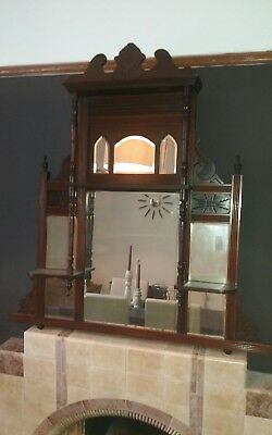 Antique Ornate Mahogany Full overmantle mirror   ☆ Ystalyfera Swansea Valley