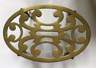 Antique Vintage Solid Brass Fire Side Trivet Oval With Four Legs Collectable
