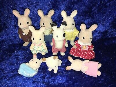 Sylvanian Families Mixed Rabbit Family - 9 Figures - Calico Critters Epoch