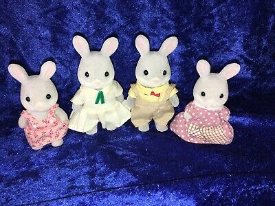 Sylvanian Families Grey Rabbit Family - 4 Figures - Calico Critters Epoch