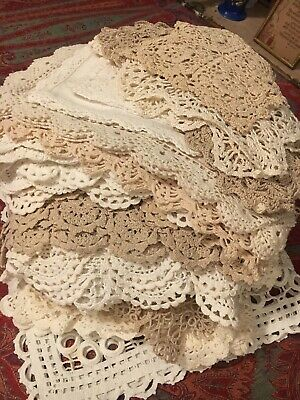 Bulk Lot Of 40 Lovely Square Rectangle Vintage Doilies Crochet Lace Place Mats