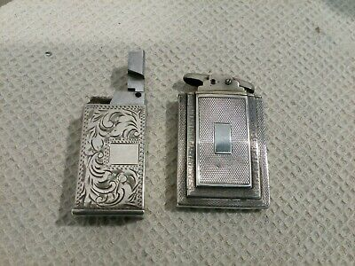Vintage Solid Silver Cased Lighters Art Deco And Lift Arm Empty Collection...