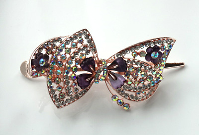 Women's Vintage Look Hair Barrette Clip Purple Bow With Crystal Rhinestone