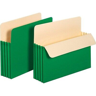 """Staples Colored Top-Tab File Pockets 3.5"""" Expansion Letter Green 25/Bx 614652"""