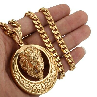 Stainless Steel Gold Gothic Lion Head Pendant Men Curb Cuban Chain Necklace 24''
