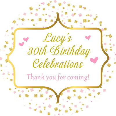 Birthday Party Confetti  Labels Personalised Gloss Celebration Stickers Any Age
