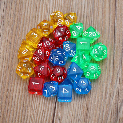 EA50 7Pcs Gem Transparent Dice RPG Playing Games Party For Families Kids Adults