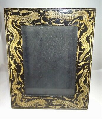 Vintage Chinese Asian Kashmir Black & Gold Lacquer Photo Frame w/ DRAGONS