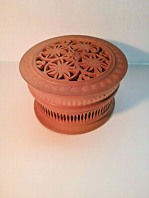 Antique MINIATURE Hand Carved WOODEN BOX - Wood Filigree - No Dmg.