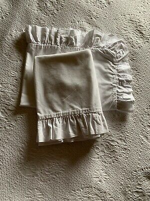 Vintage Laura Ashley Pair 100 Percent Cotton White Frilled Pillowcases