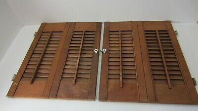 "Vintage Colonial Wood Interior Louver Window Shutter Pair  21"" Tall 33"" Wide K1"