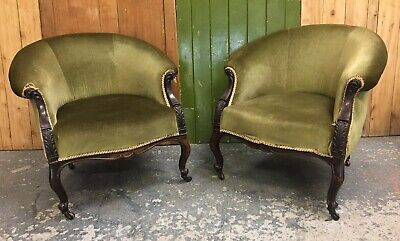 Pair Of Antique Victorian Carved Low Tub Armchairs Green Velour/velvet. Delivery