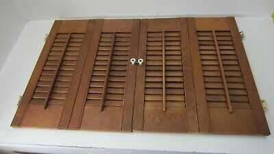 "Vintage Colonial Wood Interior Louver Window Shutter Pair  21"" Tall 33"" Wide K2"