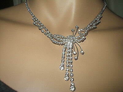 Unusual Vintage Art Deco Chatelaine Style  Drop Rhinestone Crystal Necklace