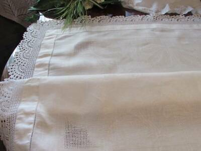 "Beautiful  Damask Vintage Tablecloth Hand Filet Lace Snow White linen 3'2""x3'2"""