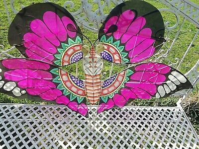 Vintage Chinese Colourful Hand Made Butterfly Kite Mobile Boxed Wood & Material