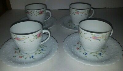 Set of 4 Limoges France Georges Boyer Trianon DEMITASSE COFFEE TEA CUP & SAUCER
