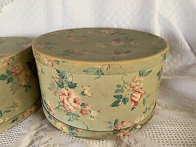 Pair of Vintage Women's Nesting Hat Boxes Pretty FLORAL Pattern 1940's